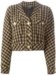 укороченный пиджак в ломанную клетку Chanel Vintage