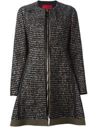 расклешенное пальто в клетку на молнии  Moncler Gamme Rouge
