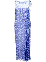 платье в принт с тюльпанами и оборкой  Emanuel Ungaro