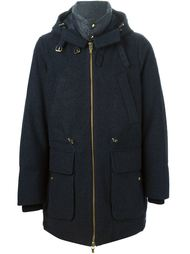 стеганое пальто с капюшоном Moncler Gamme Bleu