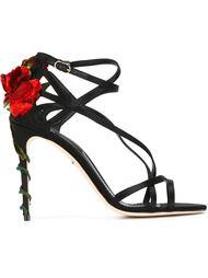 босоножки с декорированным розами каблуком Dolce & Gabbana