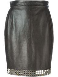 юбка с отделкой из зеркальных деталей Moschino Vintage