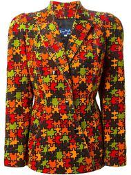 вельветовый пиджак с мозаичным принтом Thierry Mugler Vintage