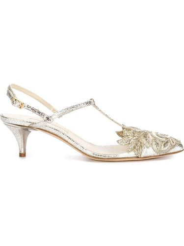 туфли с цветочной вышивкой Oscar de la Renta