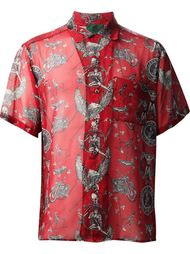 прозрачная рубашка с байкерским принтом Jean Paul Gaultier Vintage