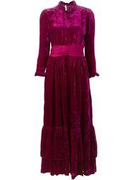 бархатное платье макси с поясом Jean Louis Scherrer Vintage