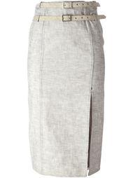 джинсовая юбка с двойным пояосом Christian Dior Vintage
