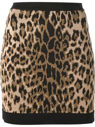 юбка с леопардовым принтом Balmain
