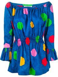 блузка в горошек с открытыми плечами Yves Saint Laurent Vintage