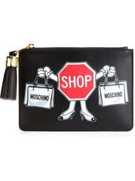 """клатч с принтом """"Shop"""" Moschino"""