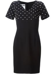 декорированное платье c V-вырезом   Moschino