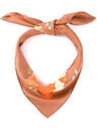 шарф с принтом роз Hermès Vintage