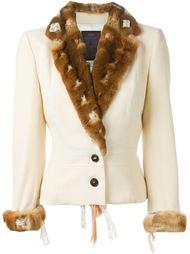 пиджак с меховой окантовкой John Galliano Vintage