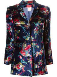 бархатный пиджак с цветочным принтом Kenzo Vintage