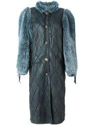 стеганое пальто с меховыми рукавами Christian Dior Vintage