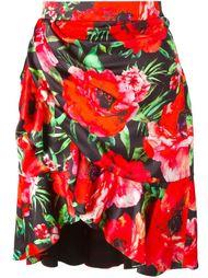 драпированная юбка с цветочным принтом   Balmain