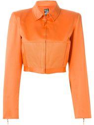 укороченный пиджак с сетчатой отделкой  Claude Montana Vintage