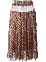 длинная плиссированная юбка в полоску  Christian Dior Vintage