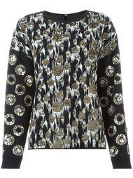 блузка с вышивкой и аппликацией из пайеток Emanuel Ungaro