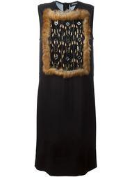платье с вставкой из кроличьего меха и пайеток Dsquared2