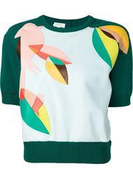 свитер с аппликацией из кожи Delpozo