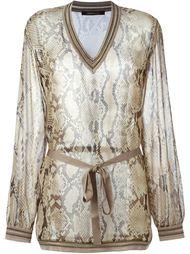 прозрачная блузка с узором змеиной кожи  Roberto Cavalli