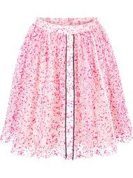прозрачная юбка с цветочным принтом Fendi