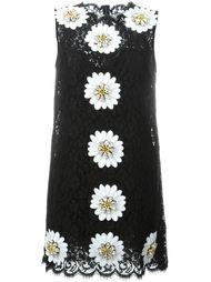 кружевное платье с аппликацией маргариток Dolce & Gabbana