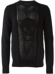 свитер с перфорированным принтом черепа Alexander McQueen