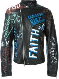 кожаная куртка с принтом граффити Diesel Black Gold