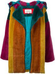 меховое пальто в стиле колор-блок  Jc De Castelbajac Vintage