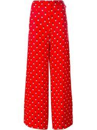 широкие брюки с принтом сердец Christopher Kane