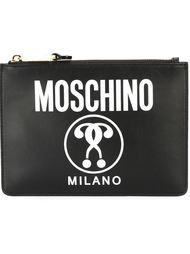 клатч с логотипом и принтом Moschino