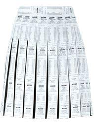 плиссированная юбка с принтом кассовых чеков Moschino