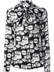 блузка с принтом сумок для покупок Moschino