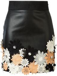 мини-юбка с цветочной аппликацией Emanuel Ungaro