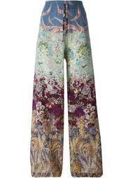 широкие брюки с принтом цветов и птиц Valentino