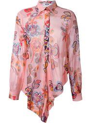 асимметричная рубашка с цветочным принтом MSGM
