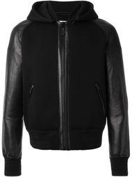 куртка с кожаными рукавами Givenchy