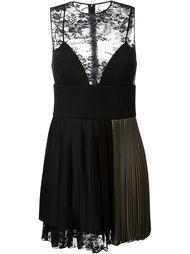 плиссированное платье с кружевными панелями Fausto Puglisi