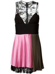 плиссированное платье с кружевной панелью Fausto Puglisi