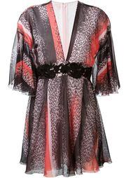 платье с вышивкой и глубоким вырезом Giamba