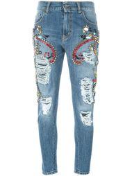 джинсы кроя скинни с рваными деталями  Marco Bologna