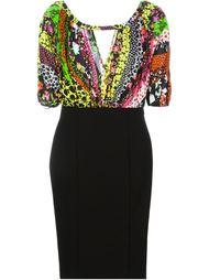 приталенное платье с цветочным узором Versace