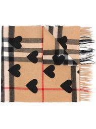 клетчатый шарф с сердцами Burberry