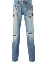 декорированные джинсы с потертой отделкой Dolce & Gabbana