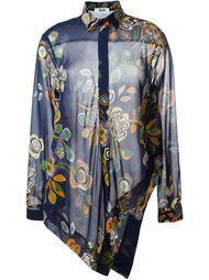 рубашка асимметричного кроя с цветочным принтом  MSGM