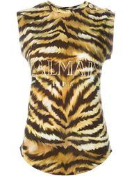 футболка с животным принтом Balmain