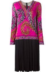 плиссированное платье с растительным узором Emilio Pucci Vintage