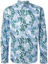 рубашка с лиственным принтом Maison Kitsuné